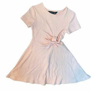 NEW 2T Girls Short Sleeve Pink Ribbed Tie Dress
